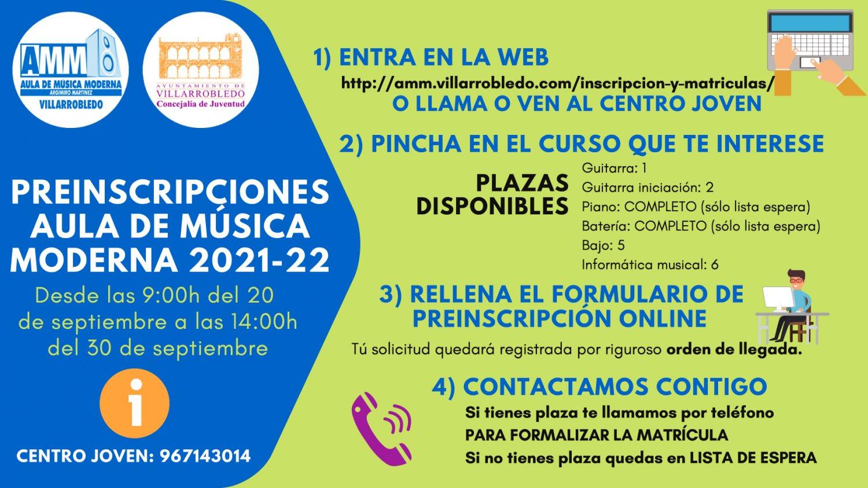 "Preinscripciones Aula de Música Moderna ""Argimiro Martínez"" 2021-2022"