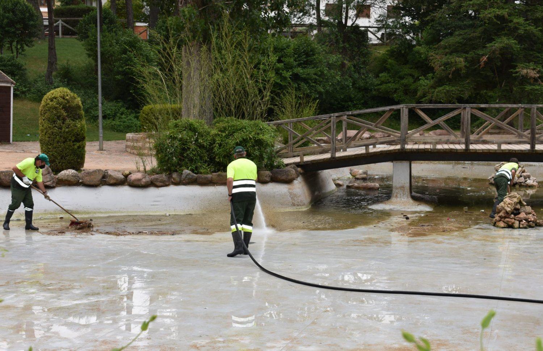 Limpieza estanque parque de la virgen